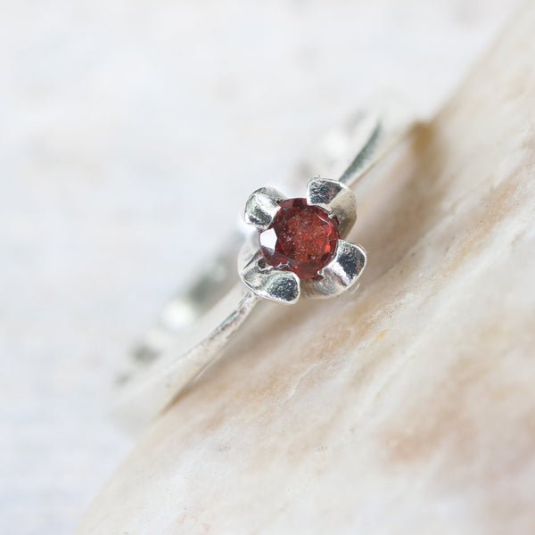 Dainty,Round faceted red garnet ring in silver prongs setting with sterling silver high polished band