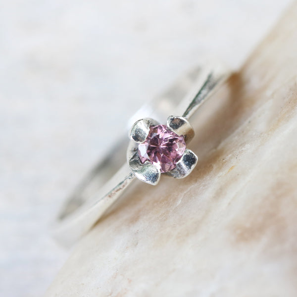 Dainty,Round faceted pink tourmaline ring in silver prongs setting with sterling silver high polished band