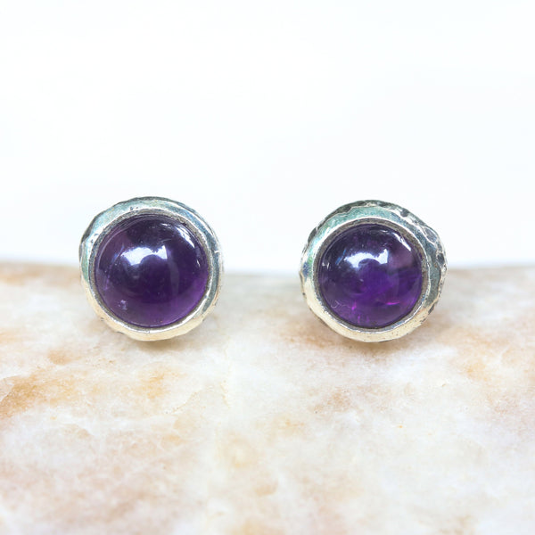 Round cabochon Amethyst earrings in silver bezel setting with sterling silver post and backing(FBA)