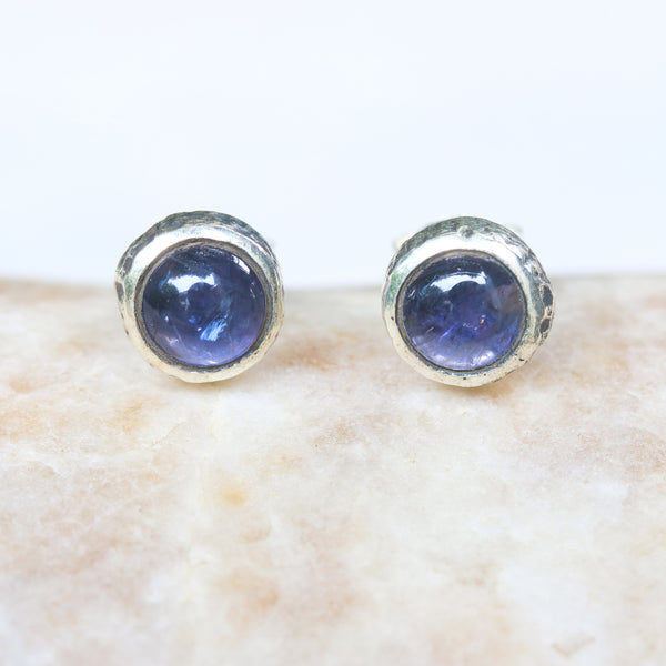 Round cabochon Iolite earrings in silver bezel setting with sterling silver post and backing