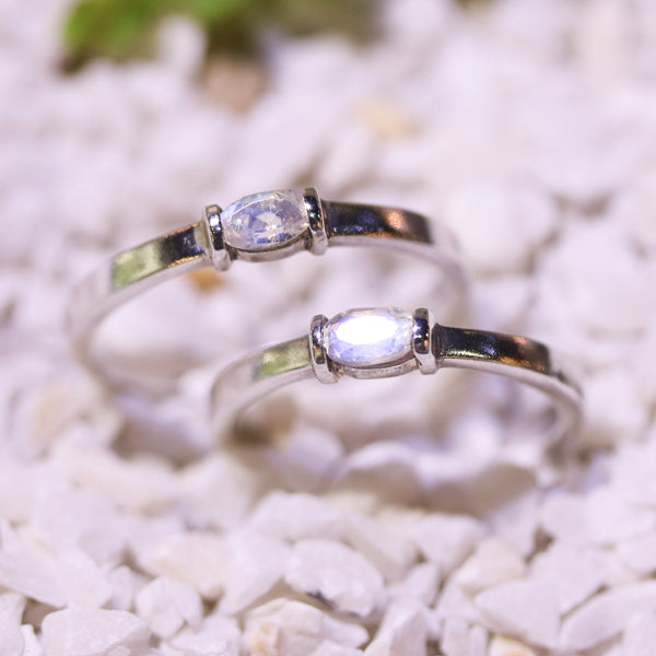 Wedding band set beautiful moonstone gemstone faceted in sterling silver high polished band - Metal Studio Jewelry
