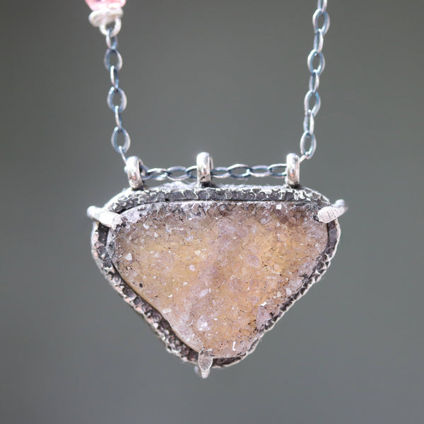 Triangle gray druzy pendant necklace in silver bezel and prongs setting and pink multi sapphire beads on the side with sterling silver chain