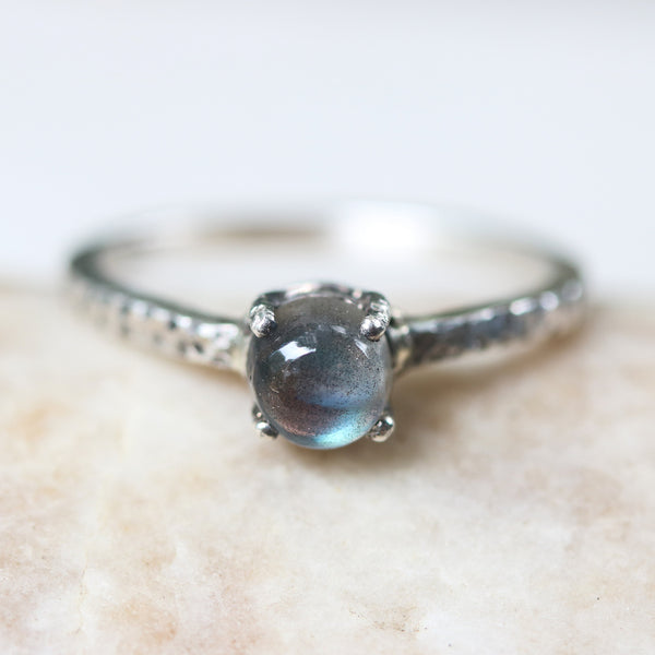 Labradorite ring with textured sterling silver band