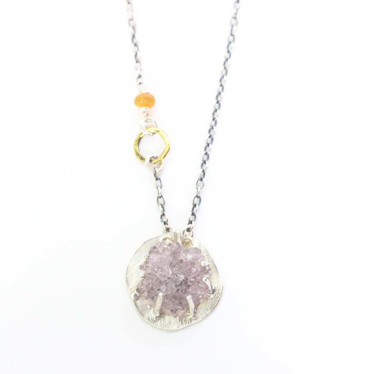 Light purple druzy pendant necklace in silver prongs setting with brass circle shape and opal beads secondary on sterling silver chain