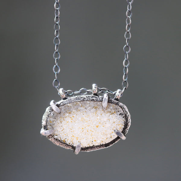 Gray/yellow oval druzy necklace in silver bezel and prongs setting and multi sapphire beads on the side with oxidized sterling silver chain