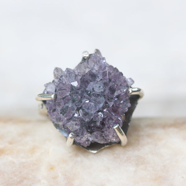 Purple druzy statement ring in silver prongs setting with sterling silver square design high polish finished band