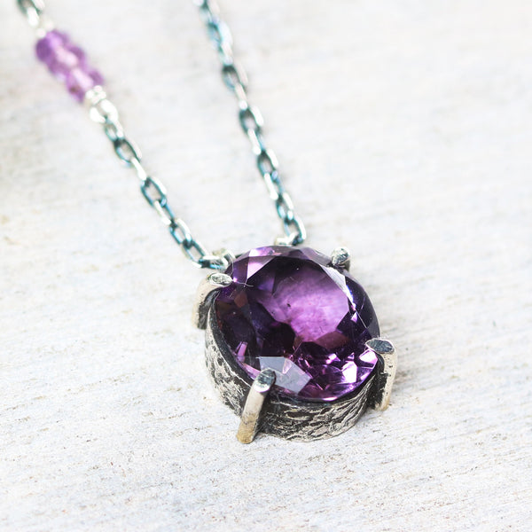 Oval faceted Amethyst necklace in silver bezel and prongs setting with amethyst beads secondary on oxidized sterling silver chain - Metal Studio Jewelry