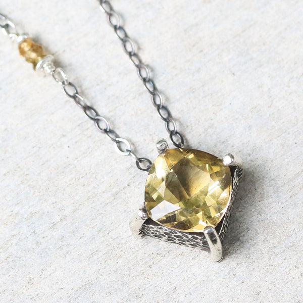 Cushion Citrine pendant necklace in silver bezel and prongs setting with yellow multi-sapphire beads secondary on oxidized silver chain