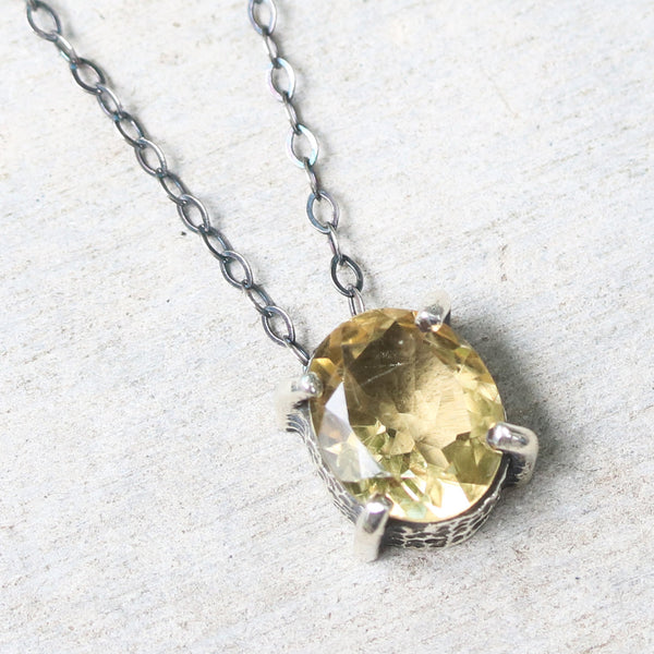 Oval faceted Citrine pendant necklace in silver bezel and prongs setting with yellow multi-sapphire beads secondary on silver chain - Metal Studio Jewelry