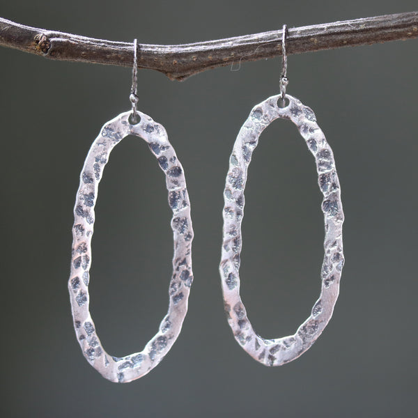 Silver oxidized hammer textured marquis hoop earrings with sterling silver hooks