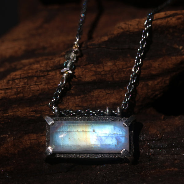 Dainty rectangle cabochon moonstone pendant necklace
