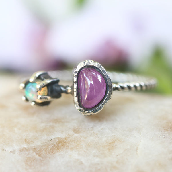 Triangle pink sapphire and opal ring in silver bezel and prongs setting with sterling silver twist design band