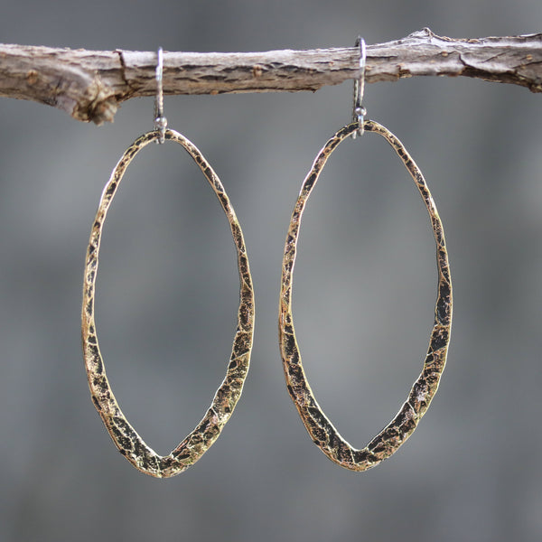 Brass oxidized hammer textured teardrop hoop earrings with sterling silver hooks - Metal Studio Jewelry