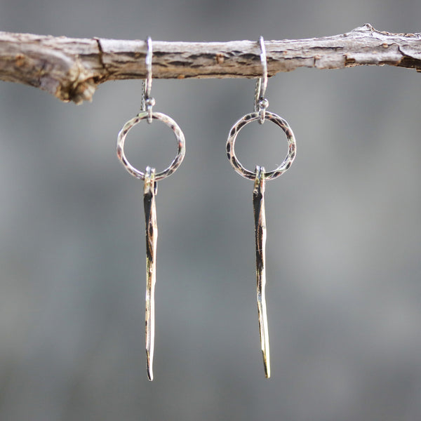 Sterling silver hammer texture circle shape earrings with brass sticks on oxidized sterling silver hooks - Metal Studio Jewelry