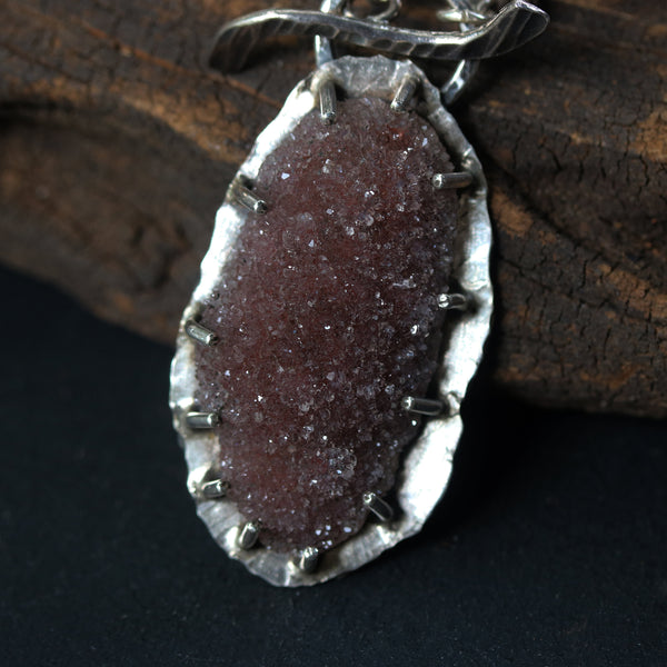 Oval brown druzy pendant necklace in silver bezel and prongs setting with rose quartz gemstone secondary