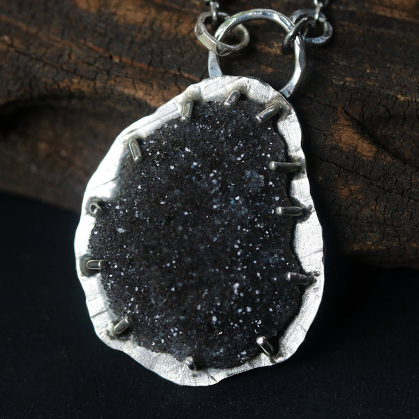 Large teardrop black druzy pendant necklace in silver bezel and prongs setting with garnet gemstone secondary - Metal Studio Jewelry