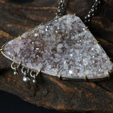 Triangle white/brown druzy pendant necklace in silver bezel and brass prongs setting with iolite gemstone secondary