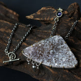 Triangle white/brown druzy pendant necklace in silver bezel and brass prongs setting with iolite gemstone secondary - Metal Studio Jewelry