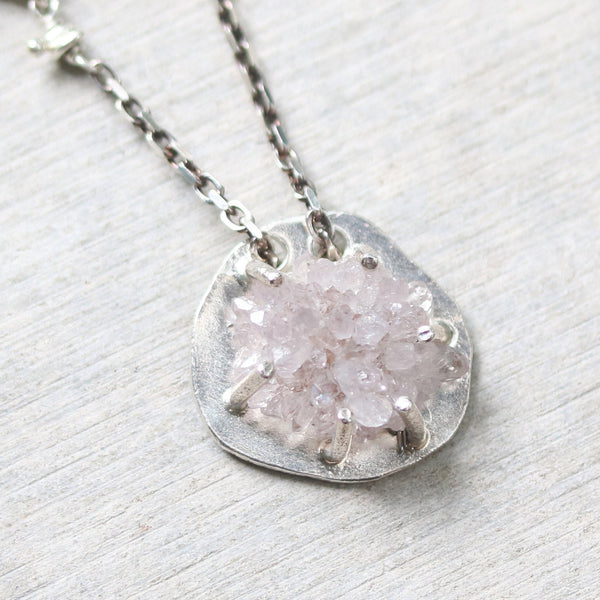 Natural Druzy necklace in silver prongs setting with silver oval shape and silver beads secondary on oxidized sterling silver chain - Metal Studio Jewelry