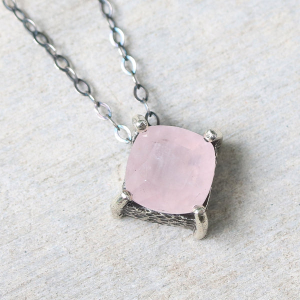 Cushion rose quartz necklace in silver bezel and prongs setting with pink multi-sapphire beads secondary on oxidized silver