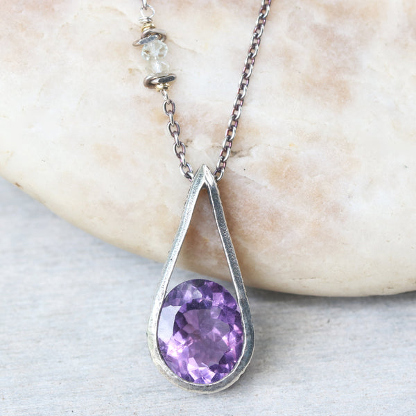 Silver teardrop pendant with amethyst gemstone set with aquamarine beads on the side - Metal Studio Jewelry