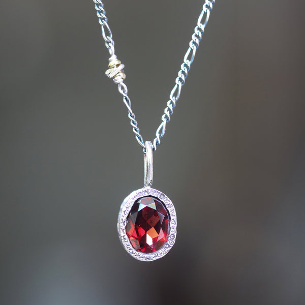 Oval faceted red garnet pendant necklace in silver bezel setting with silver beads secondary - Metal Studio Jewelry