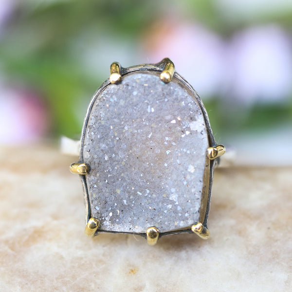 Semi-oval gray druzy ring in silver bezel and prongs setting with sterling silver band - Metal Studio Jewelry