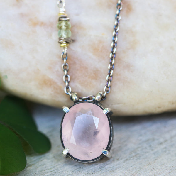Oval faceted Rose quartz gemstone pendant necklace in silver bezel and prongs setting - Metal Studio Jewelry