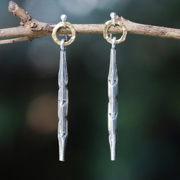Silver hexagonal sticks with gold hoop earrings(FBA)