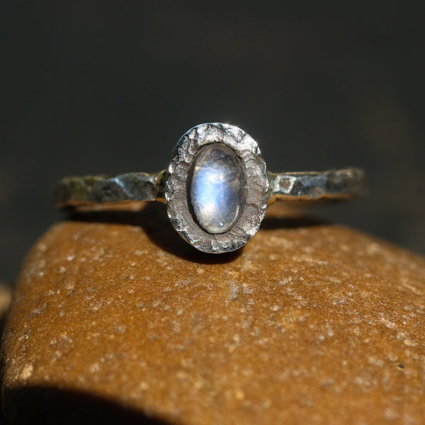 Tiny Moonstone ring in silver bezel setting with sterling silver oxidized hard texture band - Metal Studio Jewelry