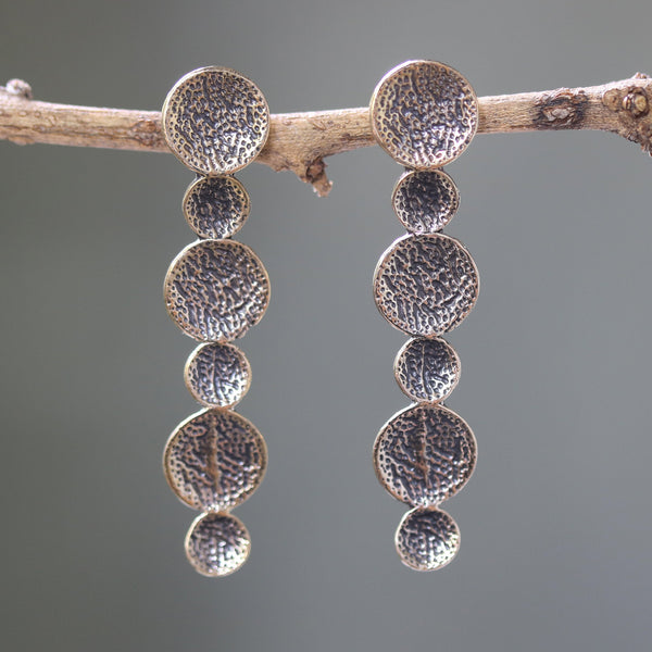 Brass circle earrings with texture oxidized on sterling silver post style