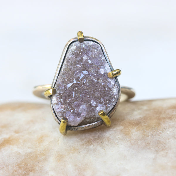 Teardrop grey Brazilian druzy ring in silver bezel and brass prongs setting
