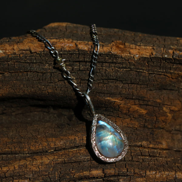 Teardrop cabochon Moonstone pendant necklace in silver bezel setting with silver beads secondary
