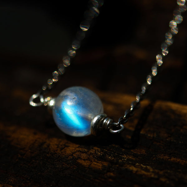 Full moon choker necklace,AAA++ Moonstone pendant with sterling silver chain