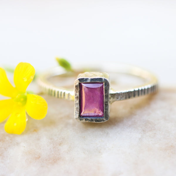 Pink sapphire in silver bezel setting with oxidized sterling silver texture design band - Metal Studio Jewelry