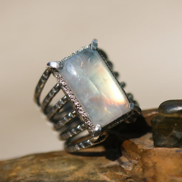 Cabochon rectangle Moonstone ring in silver bezel and prongs setting with sterling silver skeleton multi wrap band - Metal Studio Jewelry