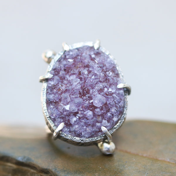 Large Purple Brazilian druzy ring in silver bezel and prongs setting