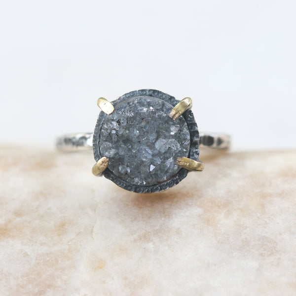 Gray round druzy ring in silver bezel and brass prongs setting with sterling silver hammer texture band - Metal Studio Jewelry