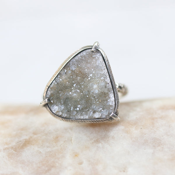 Triangle gray Brazilian druzy ring in silver bezel and prongs setting with sterling silver oxidized texture design band - Metal Studio Jewelry