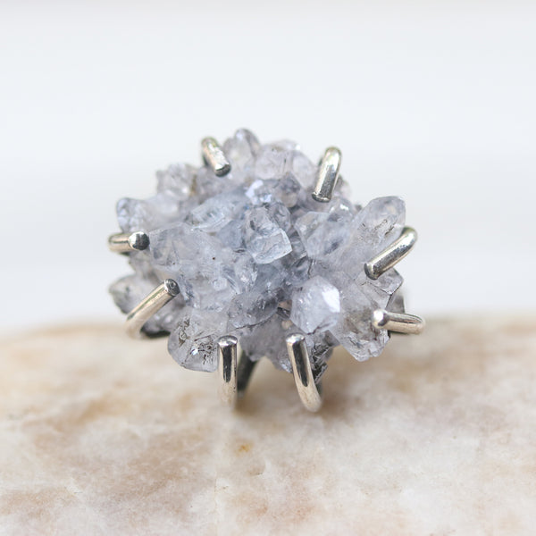 Light purple Brazilian druzy ring in silver prongs setting with sterling silver hard texture band - Metal Studio Jewelry