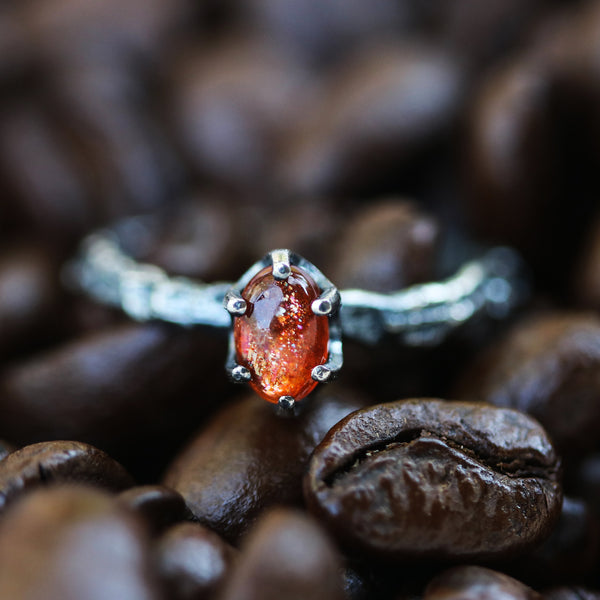 Sunstone ring in prongs setting with sterling silver oxidized hard texture band - Metal Studio Jewelry