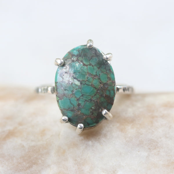 Green turquoise ring in silver bezel and prongs setting with sterling silver oxidized texture band - Metal Studio Jewelry