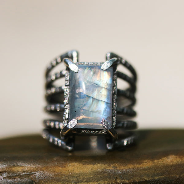 Cabochon Moonstone ring in silver bezel and prongs setting with sterling silver skeleton multi wrap band/TP