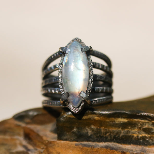 Marquis cabochon Moonstone ring in silver bezel and prongs setting with sterling silver skeleton multi wrap band - Metal Studio Jewelry