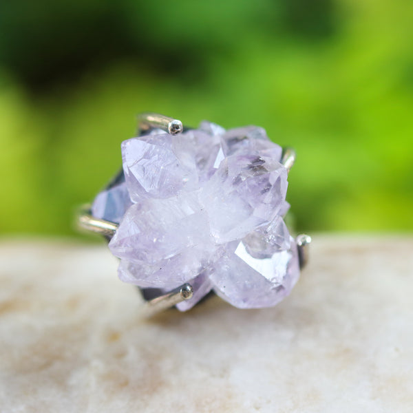 Light purple Brazilian druzy ring in silver bezel and prongs setting with sterling silver square design in high polish finished band
