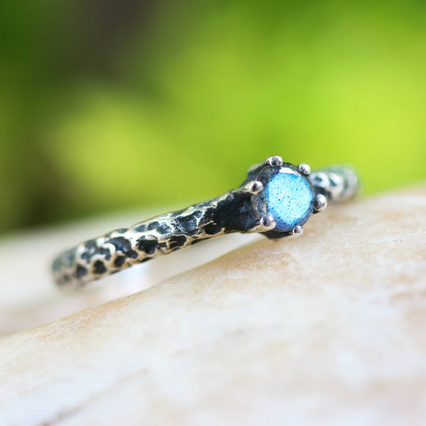 Tiny Labradorite round faceted ring in prongs setting with sterling silver oxidized texture band - Metal Studio Jewelry