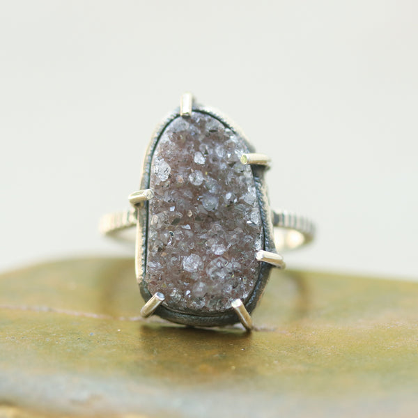 Oval dark brown Brazilian druzy ring in silver bezel and prongs setting with sterling silver band