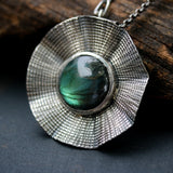 Flower pendant necklace with round labradorite in silver bezel setting on sterling silver oxidized chain