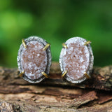 Oval brown Druzy quartz earrings in silver bezel and brass prongs setting with sterling silver stud style - Metal Studio Jewelry