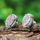 Oval brown Druzy quartz earrings in silver bezel and brass prongs setting with sterling silver stud style